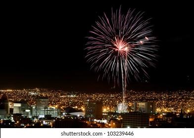 Fireworks display over El Paso, Texas skyline.