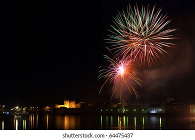 Fireworks display over the River Shannon Limerick City Ireland