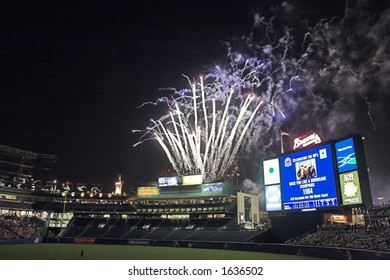 a fireworks display over Turner Field, in Atlanta, Georgia