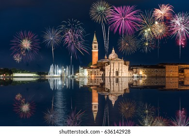 Fireworks display at San Giorgio Maggiore church in Venice, Italy
