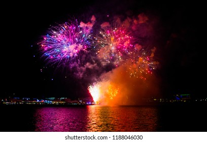 Fireworks Display As Seen From Manila Bay Philippines