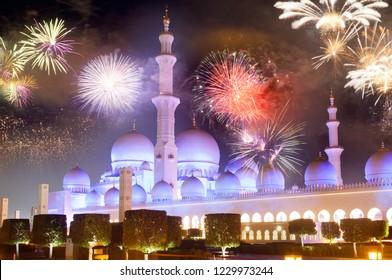 fireworks display at Sheikh Zayed White Mosque.  Abu Dhabi  UAE