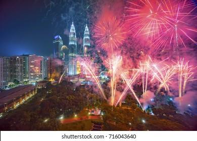 Fireworks display show over Kuala Lumpur city skyline