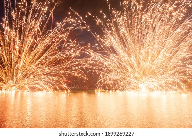 Fireworks display is a typical summer scene in Japan.