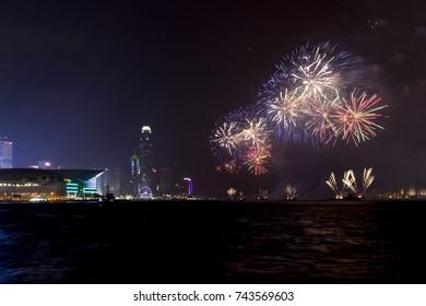 Fireworks display at Victoria harbor of Hong Kong