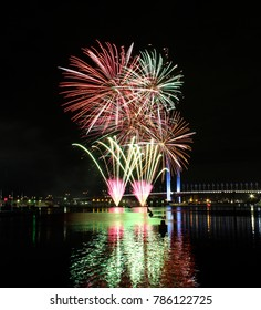 Fireworks at Docklands Melbourne with view of Bolte Bridge in the background