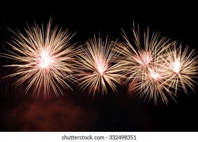 fireworks explode into golden branches and red light inside--valentines day fireworks show
