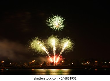 Fireworks explode over Buffalo New York as they celebrate Independence Day
