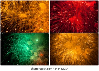 fireworks explosions in the night sky. Close-up. Holiday concept