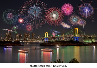 Fireworks festival in Odaiba of Tokyo, Japan. It is a venue for Olympic Tokyo 2020.