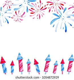 Fireworks festival. Watercolor pattern for holidays, 4th of July, United Stated independence day. Design for print, card, banner.