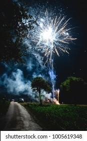 Fireworks in a field between trees for a wedding celebration