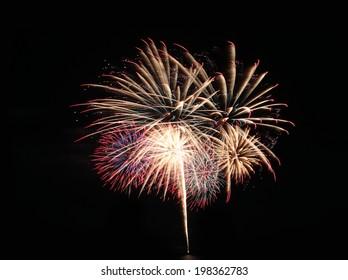 Fireworks or firecracker in the darkness background.