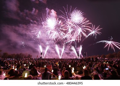 """Fireworks """"Flaming Star"""" on the Ostfildern in Germany on 21.08.2016"""