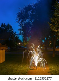 Fireworks fountain outdoors long exposure