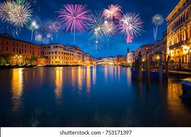 Fireworks at the Grand Canal near Rialto bridge