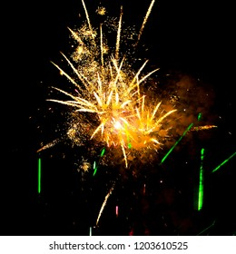 Fireworks illuminate the sky with dazzling and bright colors
