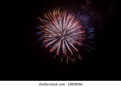 Fireworks isolated at night in a typical festivity