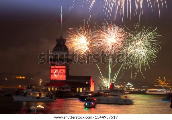 Fireworks Istanbul Uskudar, Maiden's Tower during Turkish Republic day celebrations (Turkish: 29 Ekim Cumhuriyet Bayrami) on October 29, in Istanbul, Turkey