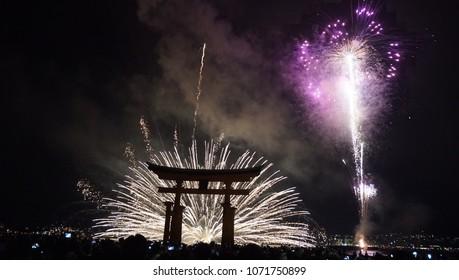 Fireworks at Itsukushima Shrine