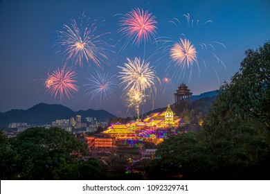 Fireworks lantern festival at Kek Lok Si Temple Georgetown Penang , Travel Malaysia during Chinese New Year