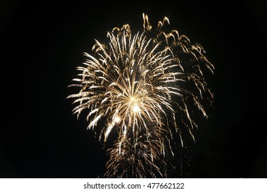 Fireworks at Lecco (Lombardy, Italy) for the beginning of summer