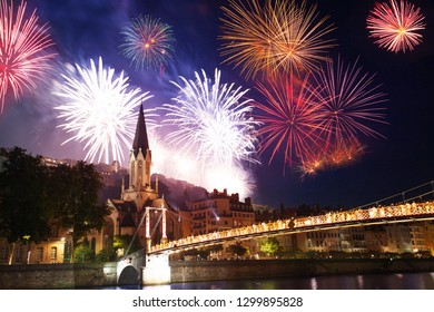 Fireworks light up Lyon sky over the Saone river