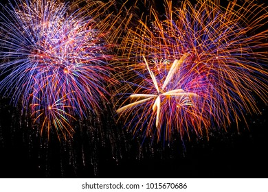 Fireworks light up the sky background