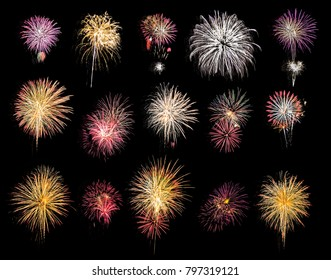Fireworks light up in the sky. /  Celebration concept. / Firework variety pack with isolated black background this has clipping path.