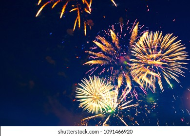 Fireworks light up the sky with dazzling display.