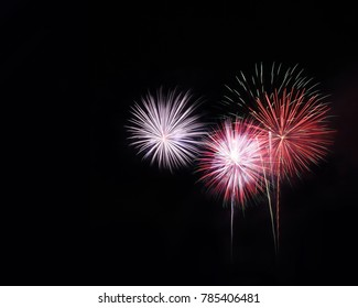 Fireworks light up the sky, New Year celebration 2018, Thailand