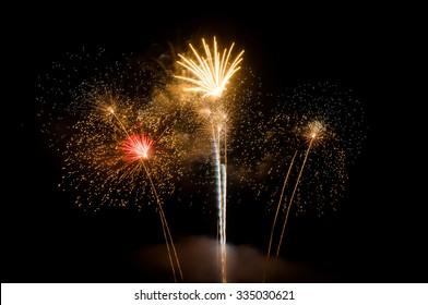 Fireworks light up the sky,New Year celebration .