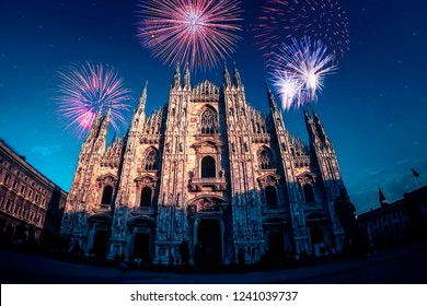 Fireworks in Milano - Italia (Milan - Italy). Duomo square during New Year's celebration