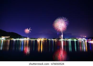 Fireworks with Mt.Fuji