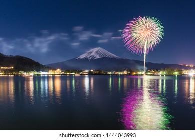 fireworks at mt.fuji in japan