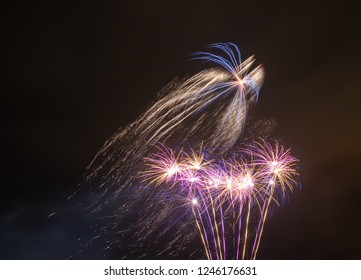Fireworks of multiple colours