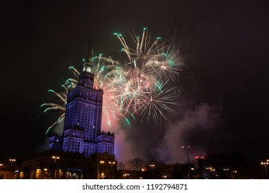 fireworks near palace of culture and science, poland, warsaw - new year, holyday