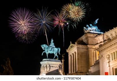 Fireworks near Victor Emmanuel II at Altare della Patria in Rome,Italy