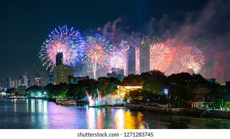 Fireworks New year 2019 at Bangkok, Thailand