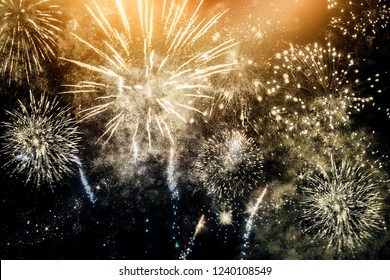 fireworks at New Year and copy space - abstract holiday background