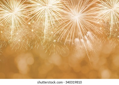 Fireworks at New Year and copy space. *****