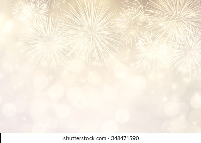 Fireworks at New Year and copy space, abstract background holiday