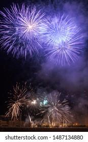 Fireworks night at Donostia San Sebastian, Basque Country.