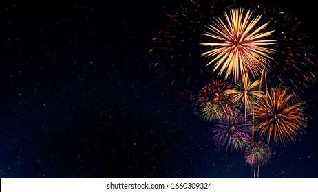 Fireworks with Night Sky Background