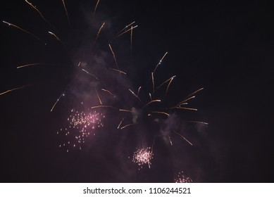 Fireworks at night with sparkles