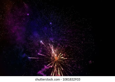 Fireworks on a black background, selective focus.