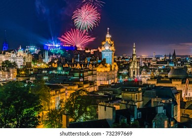 Fireworks on the City of Edinburgh In Scotland England during 'Edinburgh Military Tattoo, Military Parade taking place on the Great Edge of Edinburgh Castle