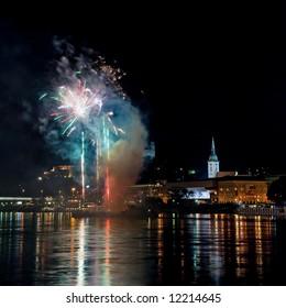 fireworks on the Danube river in Bratislava