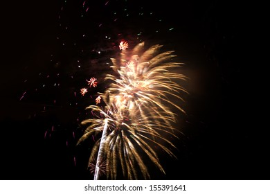 Fireworks on the dark sky during the night of the feast.