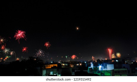Fireworks on Diwali festival in india